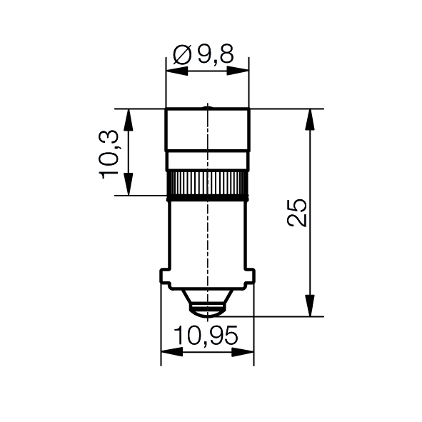 Single-LED Lampe  Ø9,8 mm Sockel BA9s Einweggleichrichtung - plan