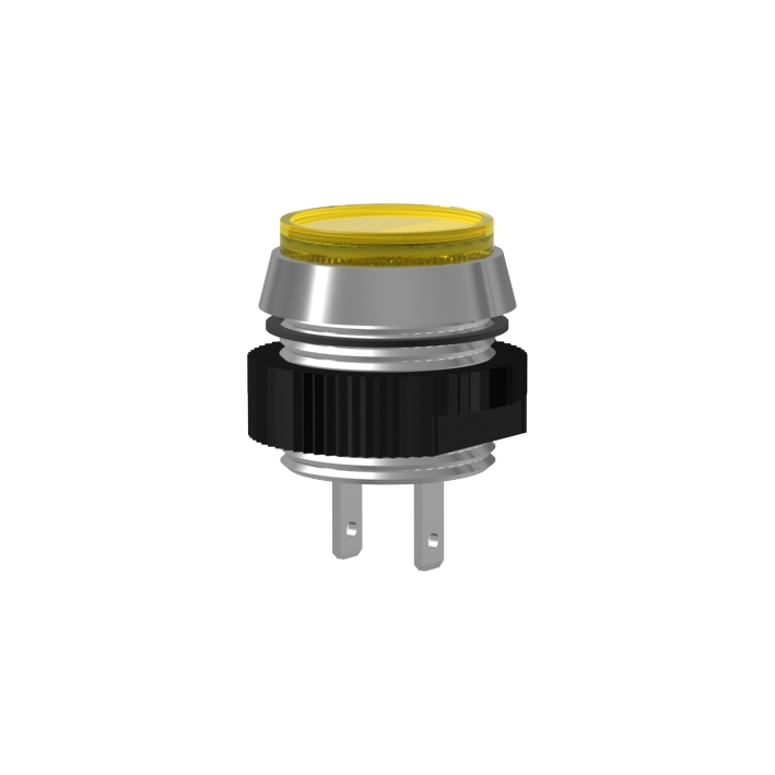 LED-Signalleuchte Ø16mm IP67 chrom, mit Blendenkopf Flachstecker 2,8x0,5mm