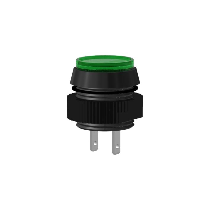 LED-Signalleuchte Ø16mm IP67 schwarz, mit Blendenkopf Flachstecker 2,8x0,5mm