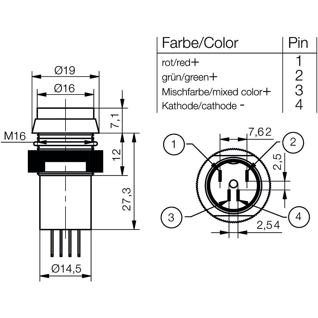 LED-Signalleuchte Ø16mm IP67 mit Blendenkopf zweifarbig - plan