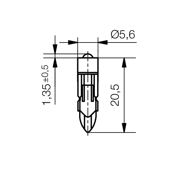 Single-LED-Lampe Ø5,6 mm Sockel T5,5k Einweggleichrichtung - plan