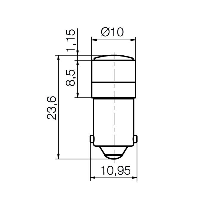 Reflektor LED-Spot mit Glaslinse Sockel BA9s - plan