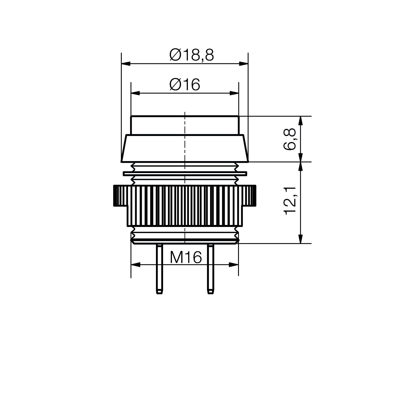 LED-Signalleuchte Ø16mm IP67 chrom, mit Blendenkopf Flachstecker 2,8x0,5mm - plan