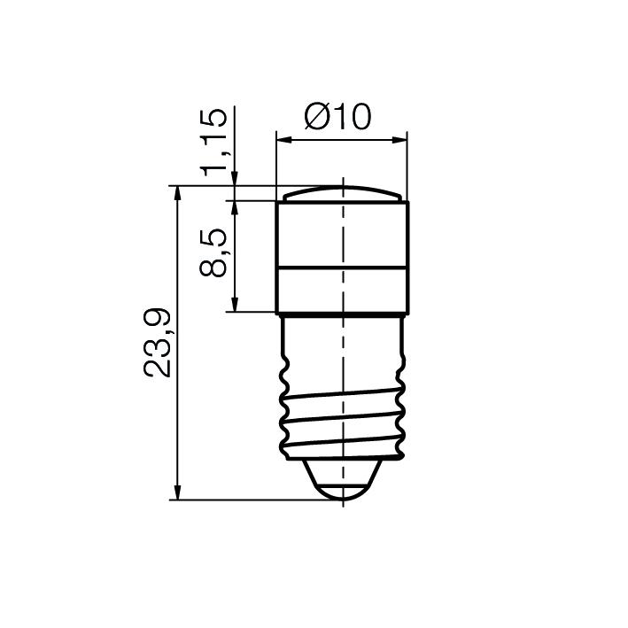 Reflector LED-Spot with glass lense socket E10 - plan