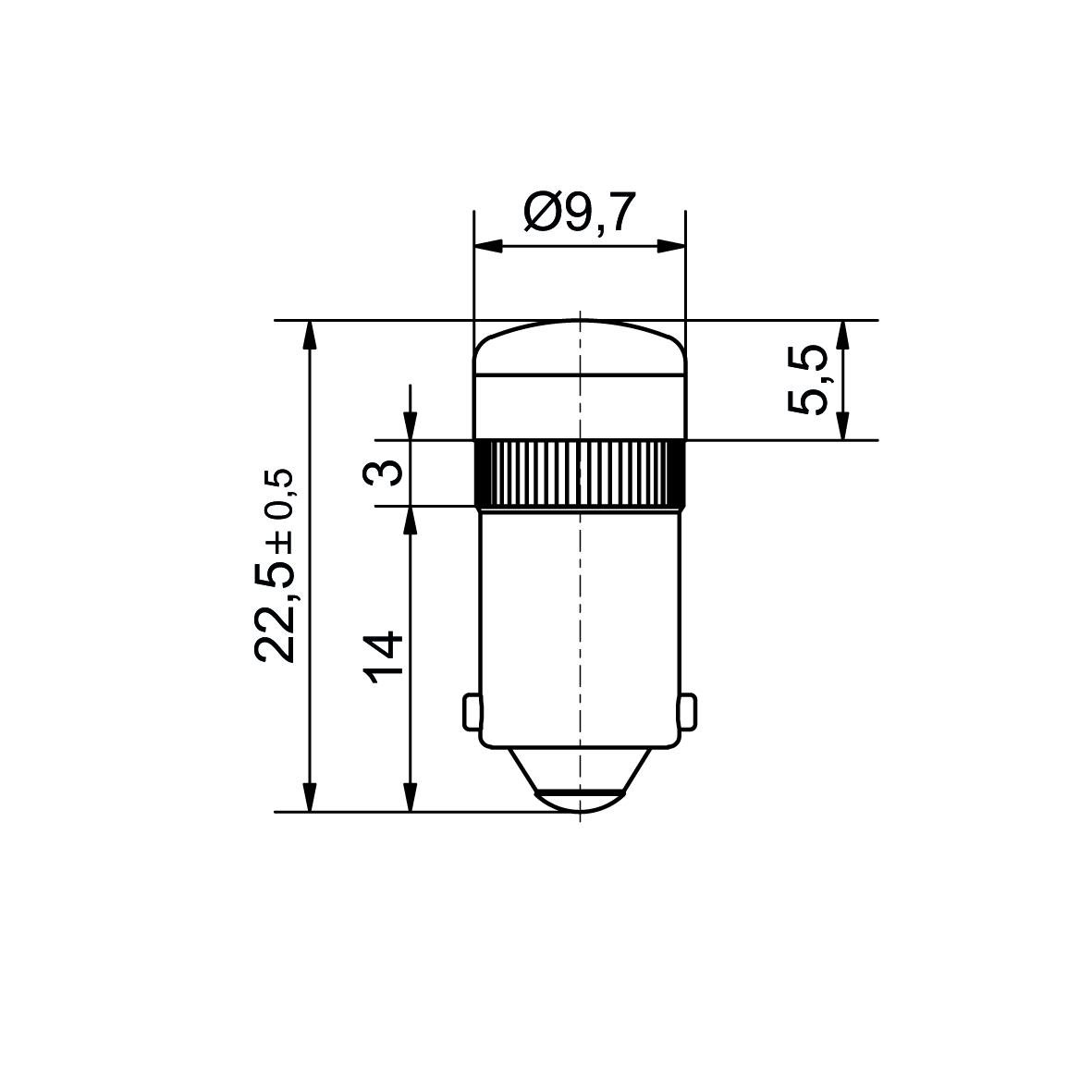 Multi-Look® LED lamp socket BA9s up to 60V AC/DC - plan
