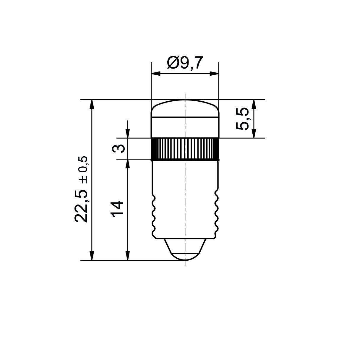 Multi-Look® LED lamp socket E10 up to 60V AC/DC - plan